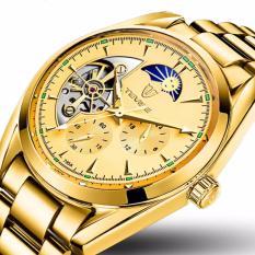 Giá Bán Đồng Hồ Chạy Cơ Automatic Nam Day Thep Thương Hiệu Tevise 795A Gold Day Vang Mặt Vang Tặng Kem Hộp Có Thương Hiệu