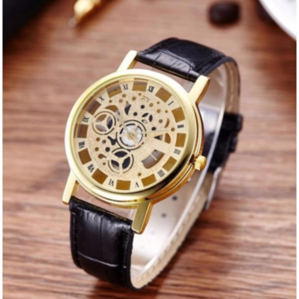 Đồng hồ cơ dây da (Đen)