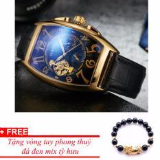 Đồng hồ cơ nam dây da SEWOR lộ máy 5 kim viền vàng TP-SE42 (xanh) - tặng vòng tỳ hưu đen