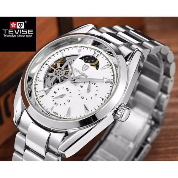 Đồng hồ cơ nam Tevise 795A chạy full kim (Mặt trắng dây bạc) bán chạy
