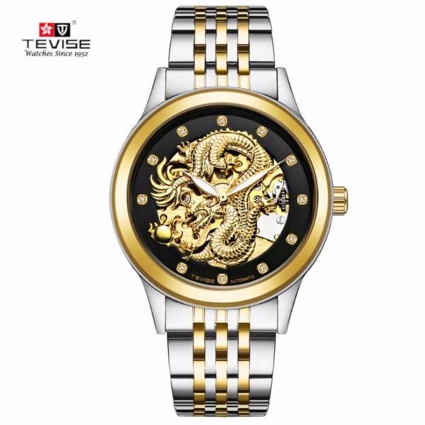 [HCM]Đồng hồ nam Tevise 9006G máy cơ mặt rồng (Mặt đen dây sọc vàng) bán chạy