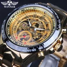 Hình ảnh Đồng hồ nam Winner TM432 cơ lộ máy đính đá dây thép không gỉ (Vàng)