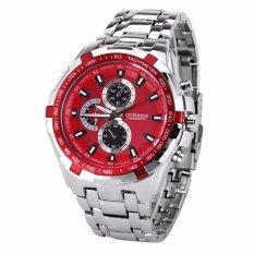 Đồng hồ Curren dây sắt mặt đỏ sành điệu