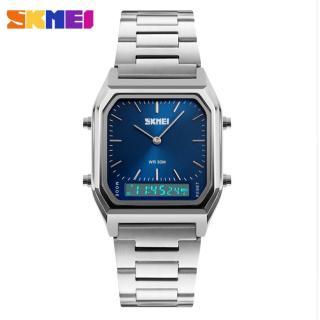 Đồng hồ dây kim loại Skmei 2 kênh mặt vuông ZE92 (mặt xanh) thumbnail