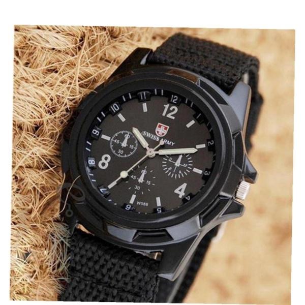đồng hồ dây vải kiểu dáng lính - đồng hồ kiểu quân đội ( đen)