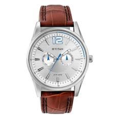 Đồng hồ nam dây da Titan 9322SL05 45mm (Nâu, Mặt bạc) - Hãng phân phối chính thức