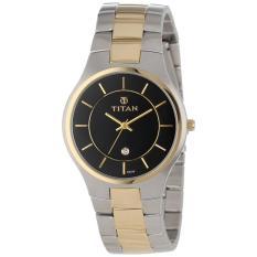 Đồng hồ nam dây thép Titan 9384BM02 36mm (bạc mạ vàng đồng, Mặt đen) - Hãng phân phối chính thức