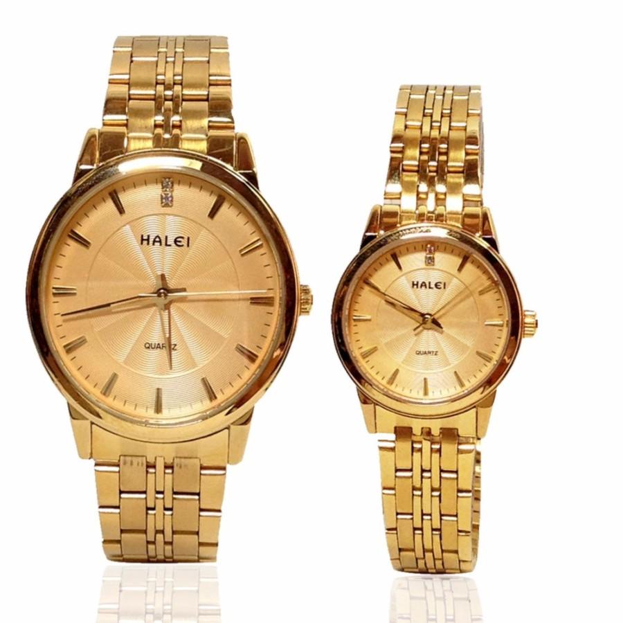 Đồng hồ đôi dây thép không gỉ cao cấp thương hiệu HALEI 522M (full gold)