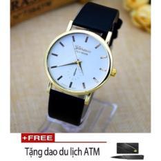 Đồng hồ geneva dây da đen mặt trắng platrinum TTP-217 mới  + Tặng dao ATM cao cấp (đen)