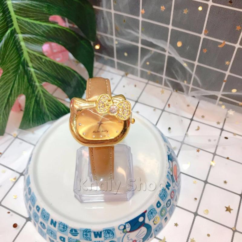 Đồng hồ kim đeo tay trẻ em bản to đầu mèo KITTY nơ hột màu vàng siêu đáng yêu - 130DHKT018V bán chạy