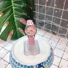Giá bán Đồng hồ kim đeo tay trẻ em mặt tròn hình mèo KITTY nằm màu hồng siêu đáng yêu - 130DHKT001