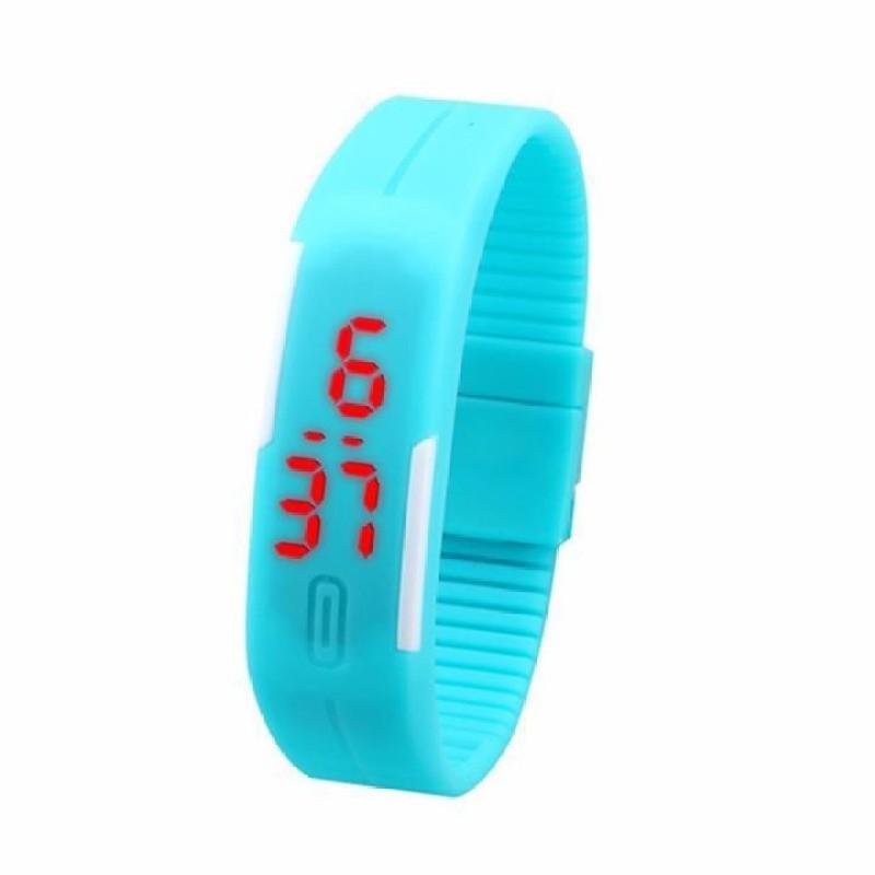 Nơi bán Đồng hồ LED dây silicon kiêm vòng tay (Xanh)