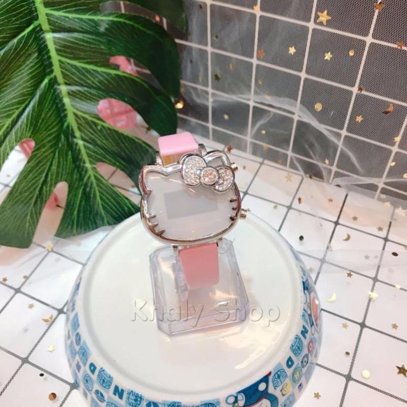 Đồng hồ Led điện tử đeo tay trẻ em bản to đầu mèo Kitty nơ hột màu hồng nhạt siêu đáng yêu - 130DHLKT02HN bán chạy