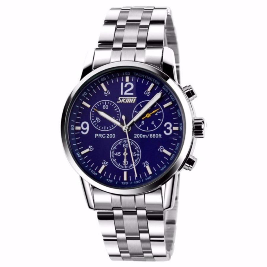 Đồng hồ nam cao cấp dây thép chống gỉ SKMEI 9070  mặt xanh