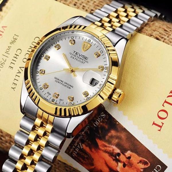 Đồng hồ nam cơ Tevise 629 máy Automatic dây thép đặc (Trắng Demi) bán chạy
