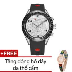 Đồng Hồ Nam Day Cao Su Curren Đen Tặng Kem 1 Đồng Hồ Day Da Thổ Cẩm Nguyên
