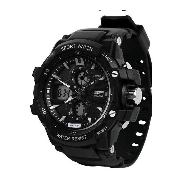 Đồng hồ nam dây cao su SKMEI 0990 (Đen mặt viền trắng) bán chạy