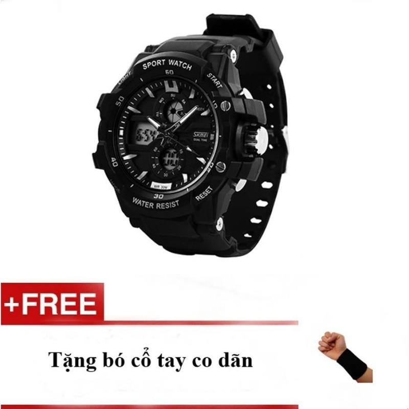 Nơi bán Đồng hồ nam dây cao su Skmei 0990 đen + quà tặng