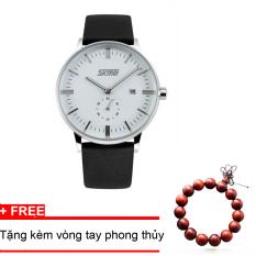 Bán Đồng Hồ Nam Day Da Cao Cấp Skmei 9083 Trắng Tặng Kem Vong Tay Phong Thủy Có Thương Hiệu Nguyên