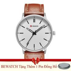 Bán Đồng Hồ Nam Day Da Curren 8233 Nau Tặng Kem 01 Vien Pin Bewatch Người Bán Sỉ