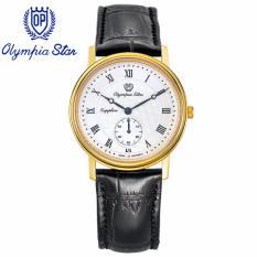 Ôn Tập Trên Đồng Hồ Nam Day Da Mặt Kinh Sapphire Chống Xước Olympia Star Opa58050Mk Gl T