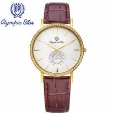 Ôn Tập Tốt Nhất Đồng Hồ Nam Day Da Mặt Kinh Sapphire Chống Xước Olympia Star Opa58082Dmk Gl T