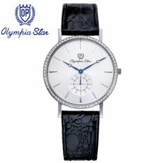 Đồng hồ nam dây da mặt kính sapphire chống xước Olympia Star OPA58082DMS-GL trắng bán chạy
