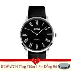 Mua Đồng Hồ Nam Day Da Skmei 051115Na Đen Tặng Kem 01 Vien Pin Rẻ Hà Nội