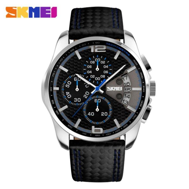 Đồng hồ nam dây da Skmei  9106 Chronograph 6 kim hoạt động - Đen phối xanh