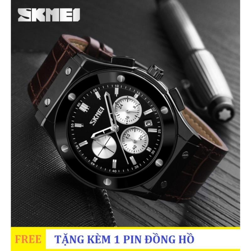 Đồng hồ nam dây da Skmei 9157 6 kim quay (Đen phối Bạc)