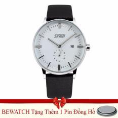 Bán Đồng Hồ Nam Day Da Skmei Bewatch Đen Tặng Kem 01 Vien Pin Bewatch Rẻ