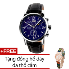 Ôn Tập Trên Đồng Hồ Nam Day Da Skmei Đen Tặng Kem 1 Đồng Hồ Day Da Thổ Cẩm