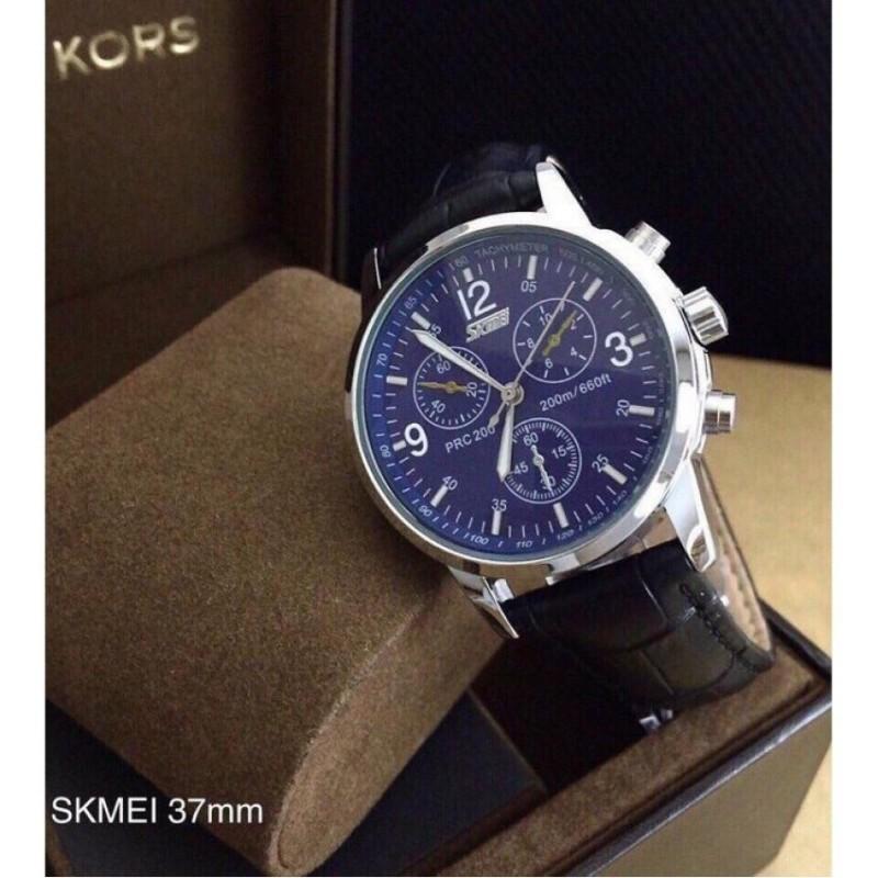 Đồng hồ nam dây da Skmei mã ME823 (Mặt Xanh)