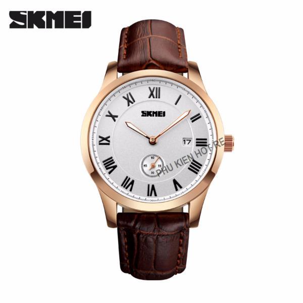 Đồng hồ nam dây da Skmei PKHRSK004-1 (nâu mặt trắng)