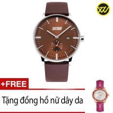 Giá Bán Đồng Hồ Nam Day Da Skmei Xtw Skm0409A Nau Tặng 1 Đồng Hồ Nữ Day Da Trực Tuyến