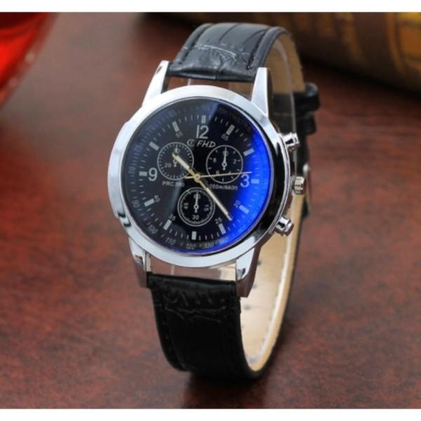 Đồng hồ nam dây da thời trang CATA-WD (Dây đen mặt xanh)