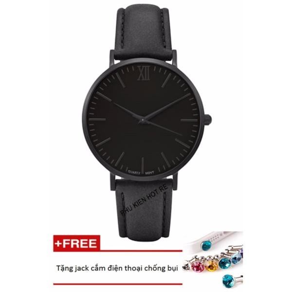 Đồng hồ nam dây da tổng hợp Geneva PKHRGE045-1 (đen)+ Tặng 1 jack chống bụi cho điện thoại