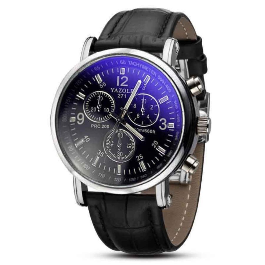 Đồng hồ nam dây da SK9070 mặt đen quai đen