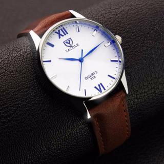 Đồng hồ nam Yazole 318 dây da sang trọng (Mặt trắng dây nâu) thumbnail