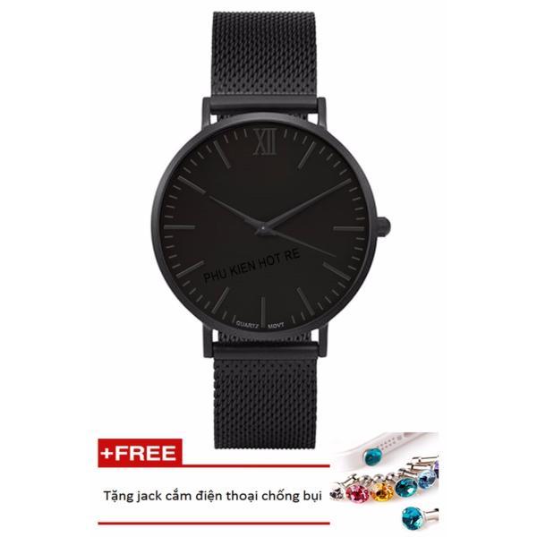 Đồng hồ nam dây hợp kim Geneva PKHRGE045-2 (đen)+ Tặng 1 jack chống bụi cho điện thoại