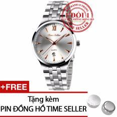 Đồng hồ nam Time Seller 9071 Quartz Analog dây thép + Tặng 01 Pin Time Seller