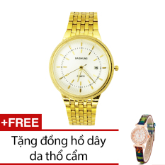 Đồng Hồ Nam Day Kim Loại Bewatch Vang Tặng Kem 1 Đồng Hồ Day Da Thổ Cẩm Bewatch Chiết Khấu 30