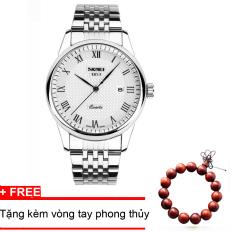 Giá Bán Đồng Hồ Nam Day Kim Loại Khong Gỉ Skmei 9058 Trắng Tặng Kem Vong Tay Phong Thủy Nguyên