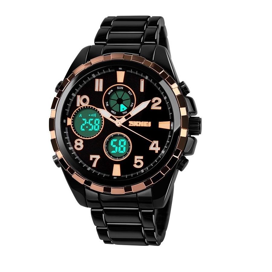Đồng hồ nam dây kim loại SKMEI 1021 Đen