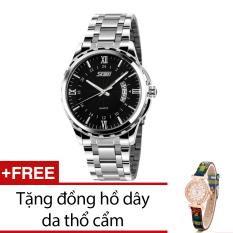 Giá Bán Đồng Hồ Nam Day Kim Loại Skmei Bạc Tặng Kem 1 Đồng Hồ Day Da Thổ Cẩm Mới