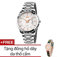 Mua Đồng Hồ Nam Day Kim Loại Skmei Bạc Tặng Kem 1 Đồng Hồ Day Da Thổ Cẩm Skmei
