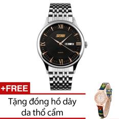 Ôn Tập Đồng Hồ Nam Day Kim Loại Skmei Bạc Tặng Kem 1 Đồng Hồ Day Da Thổ Cẩm Skmei