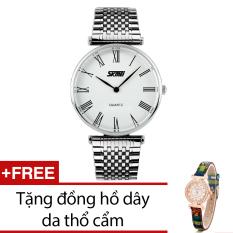 Giá Bán Đồng Hồ Nam Day Kim Loại Skmei Bạc Tặng Kem 1 Đồng Hồ Day Da Thổ Cẩm Nguyên