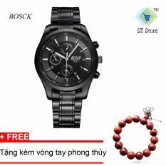 Giá Bán Đồng Hồ Nam Day Thep Đen Cao Cấp Bosck 8251 Full Đen Tặng Kem Vong Tay Phong Thuỷ