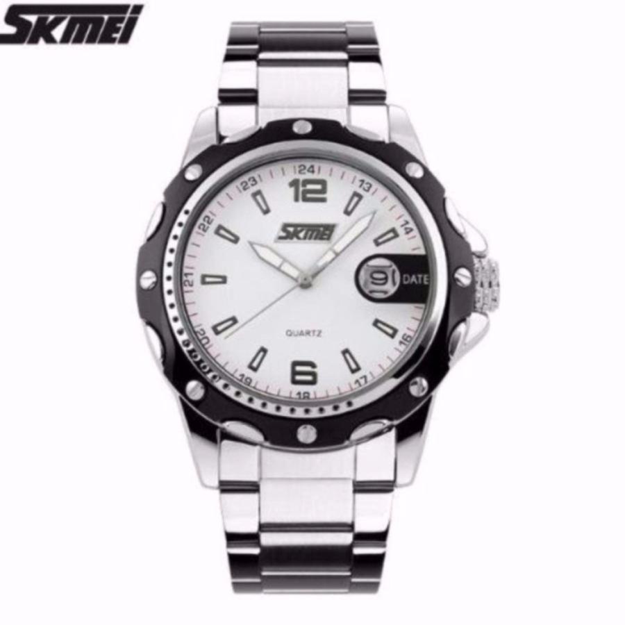 Đồng hồ nam dây thép không gỉ cao cấp Skmei 0992 mặt trắng  Giá rẻ